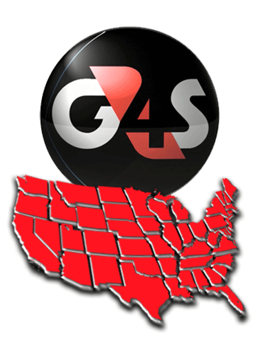 USA map and G4S logo